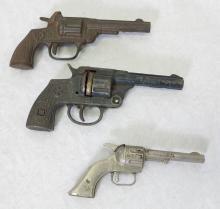(3) Kilgore Cast Iron & Die Cast Toy Cap Guns. Six Shooter, Ranger & Pal