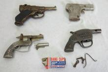 (4) Kilgore Toy Cap Guns. Officer Pistol Luger, Border Patrol, Federal No. 1 for Parts