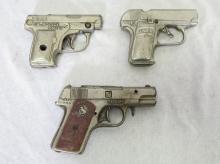 (3) Toy Cap Guns. Hubley Champ, Kenton Jr. Police Chief, Stevens 25 JR