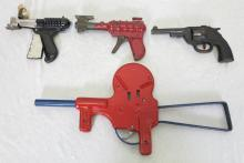 (4) Metal Toy Cap Guns. Wyandotte 1936 Buck Rogers Space Ray Gun, Wyandotte Dart Gun