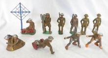(10) Manoil WW1 Painted Lead Toy Soldier Figures