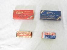 (4) Boxes of Toy Cap Gun Caps. Kilgore Disc Caps, Mammoth Single Shot Caps