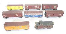(8) Wooden & Metal Train Cars. Nickel Plate Road NKP 13057, Pacific Fruit Express PFE 45798