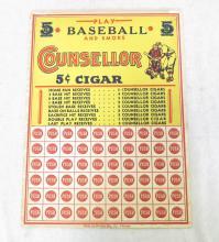 Play Baseball and Smoke Counesllor Cigars Push Punch Game. By Harlich Mfg.