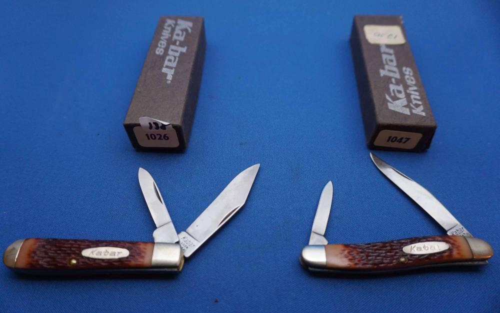 2 Ka-bar Pocket Knives, 1026-1047, New in Box