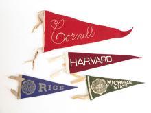 Lot of 4 College Felt Pennants, Rice, Harvard