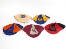 (5) Vintage College Sports Cloth & Felts Hats