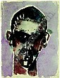 EDUARD BARGHEER Man head. Water color over Vorzeichnung with pencil. 1965. 42,5: 32.0 cm. Marked, dated and with garden designates. Expressives, easily abstracted head portrait of a young man with thoughtful expression. - back very beautiful, water