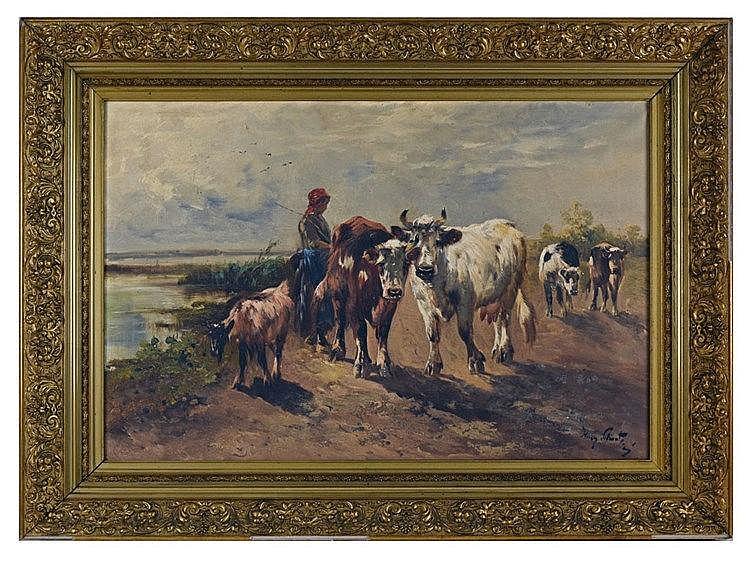 Vaches et chèvre. Huile sur toile, signé 'Henry Schouten' en bas à droite 8
