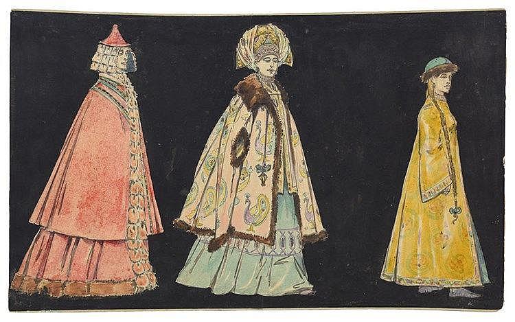 Ensemble de trois gouaches représentant les costumes Russes des XVIe et XVI