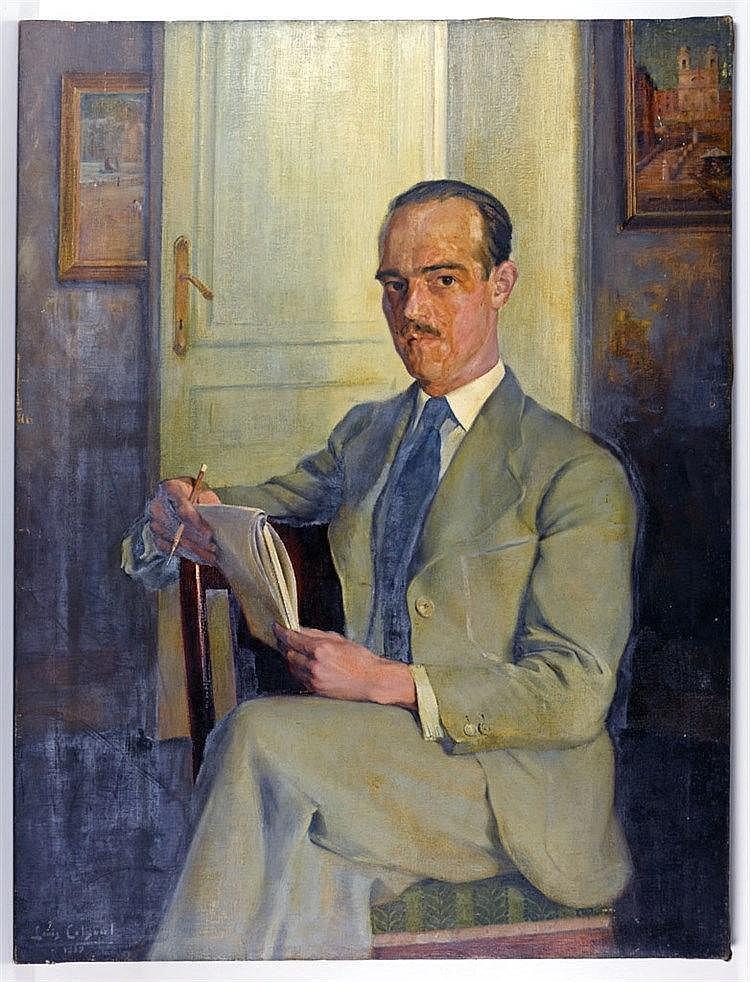 Portrait d'homme assis. Signé 'Louis Colsoul, 1939' 132 x 98cm
