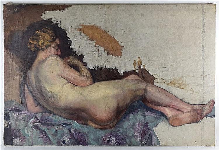 Etude de nu féminin couché. Huile sur toile 100 x 149cm