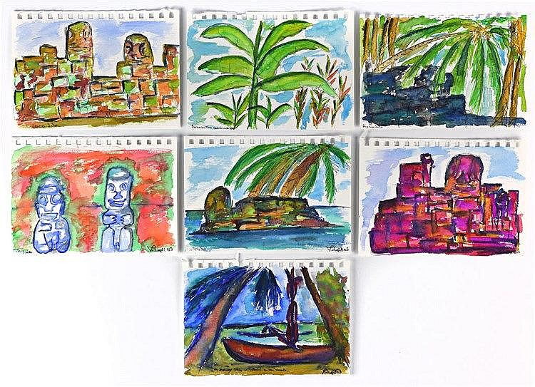 Groupe de sept aquarelles sur papier illustrant divers paysages et végétaux