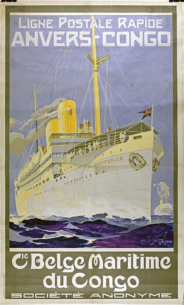 Ligne postale rapide Anvers-Congo. Affiche couleur de la Cie Maritime bel