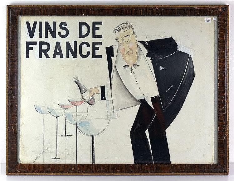 Projet d'affiche, Circa 1950, auquel on joint 2 lithographies de Gisbert C