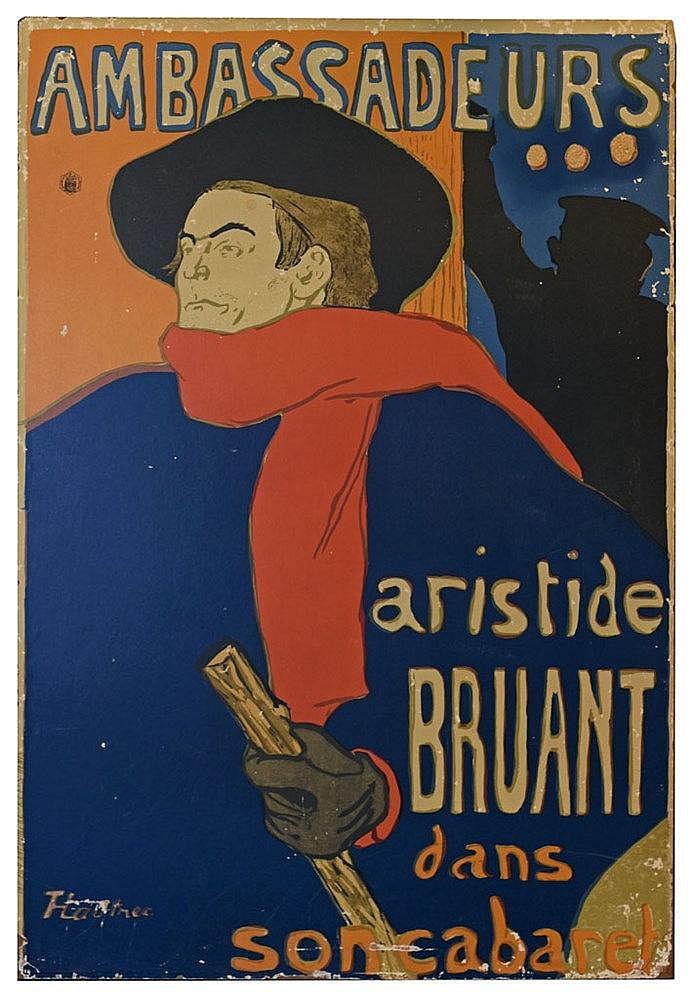 Ambassadeurs Aristide Bruant Affiche collée en plein sur panneau de bois. M