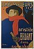 Ambassadeurs Aristide Bruant Affiche collée en plein sur panneau de bois. M, Henri de Toulouse-Lautrec, €10