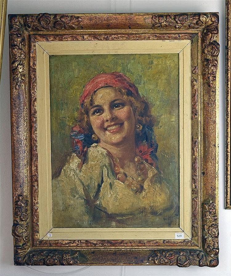 Portrait de femme, Huile sur toile portant signature en bas à gauche. 45 x