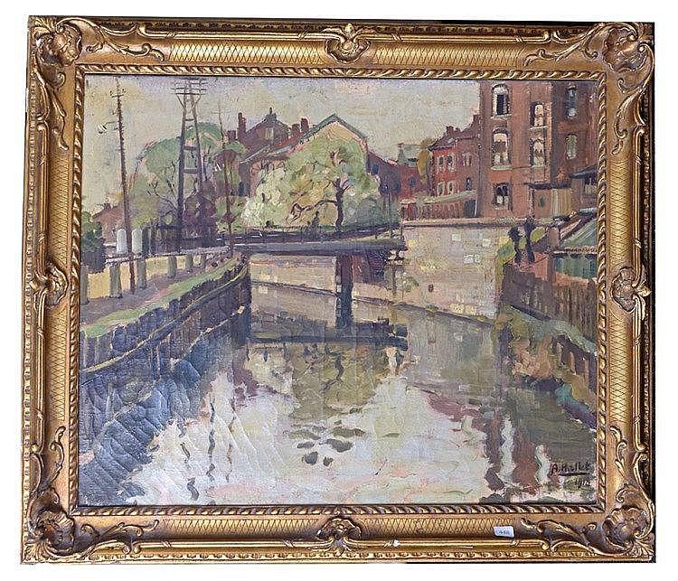 Huile sur toile - un pont en ville 63 cm x 72 cm, signé en bas à droite