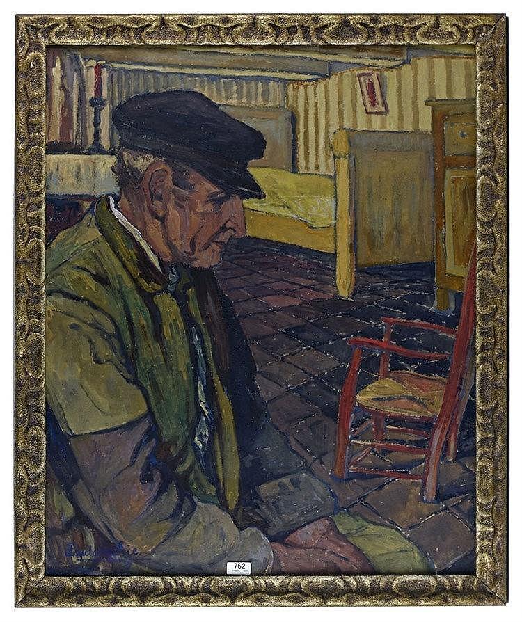 Huile sur toile - L'Aïeul 74 cm x 62 cm, signé en bas à gauche