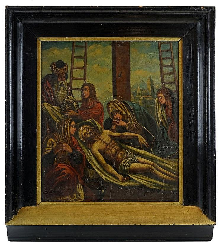Huile sur panneau - Descente de croix 73cm x 63cm