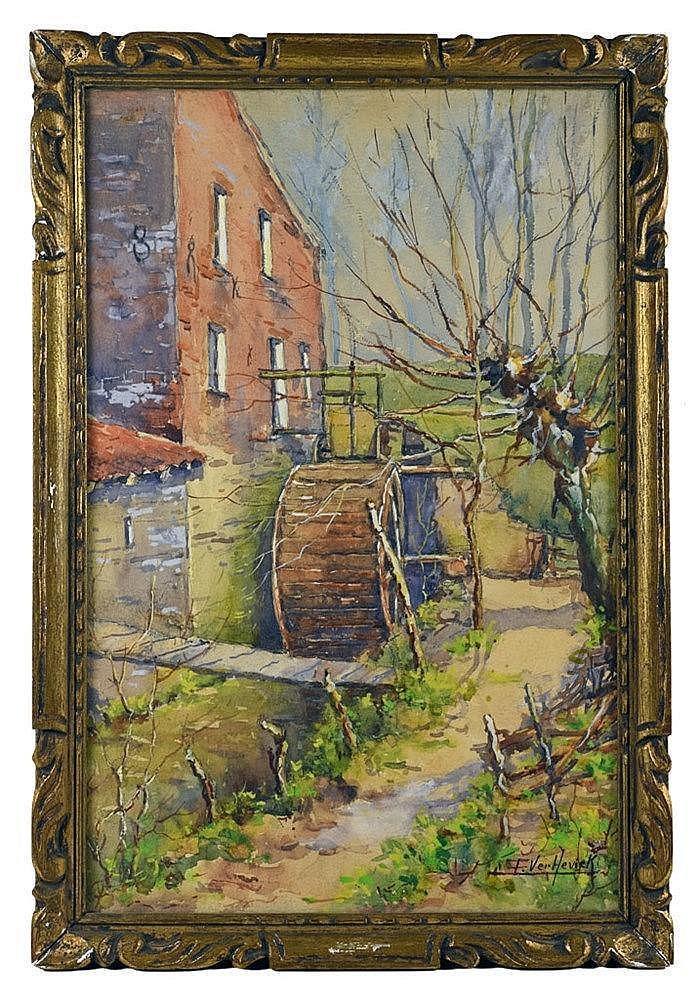Aquarelle - Moulin à eau 53 cm x 36 cm, signé en bas à droite