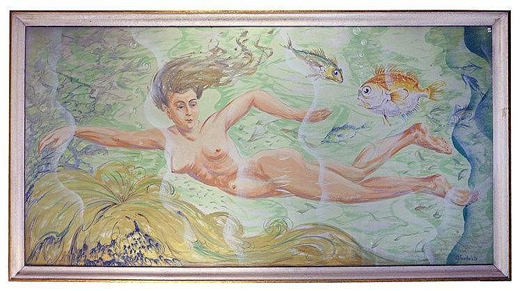 Huile sur toile - Naïade 113cm x 212 cm, signé en bas à droite