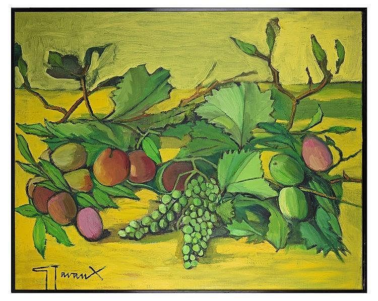 Huile sur toile - Nature morte aux fruits 79 cm x 100 cm