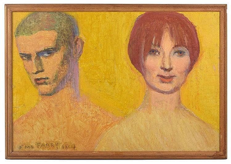 Deux visages. Huile sur panneau Unalit. Signé et daté 1964 en bas à gauche