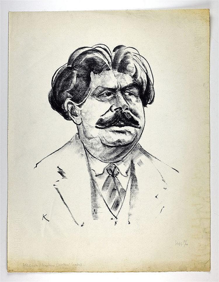 Lot de 6 caricatures lithographiées comprenant Litvinov, Mertens (Belgique)
