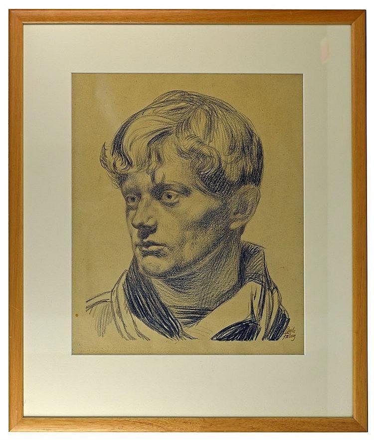 Portrait de jeune homme vers 1917. Crayon sur papier et repris au Catalaogu