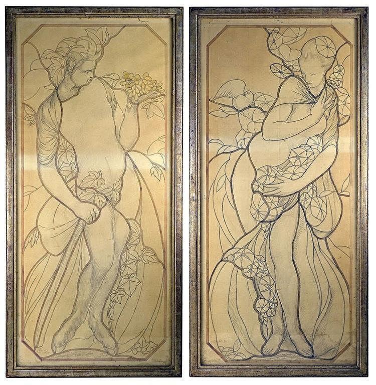Paire de projets de vitraux:Faune et vigne, nymphe et colombe. Crayon et