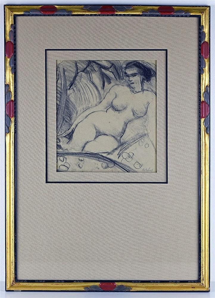 Nu féminin. Crayon sur papier, signé en bas à droite 62 x 44cm