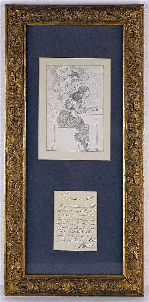 Dessin romantique, représentant Mademoiselle Cotelle assise et Cupidon. Cra