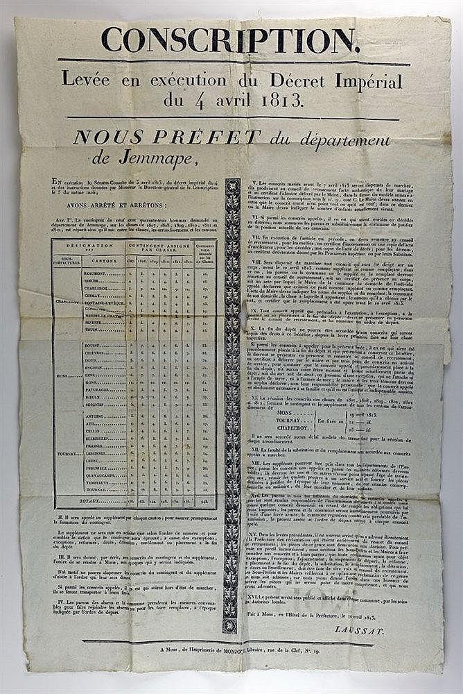 Affiche de la conscription de 1813 du département de Jemappes. Imprimée à M