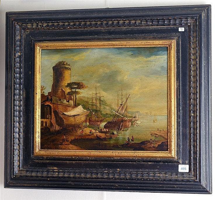 Scène de port. Huile sur métal. Signé en bas à gauche. 30 x 24 cm