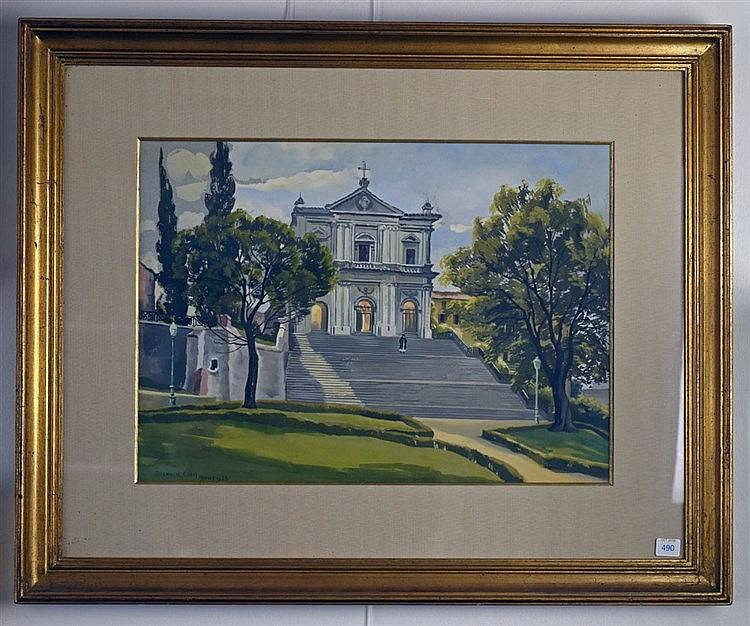 Rome, 1953. Gouache sur papier. Signé et daté en bas à gauche. 32 x 43 cm