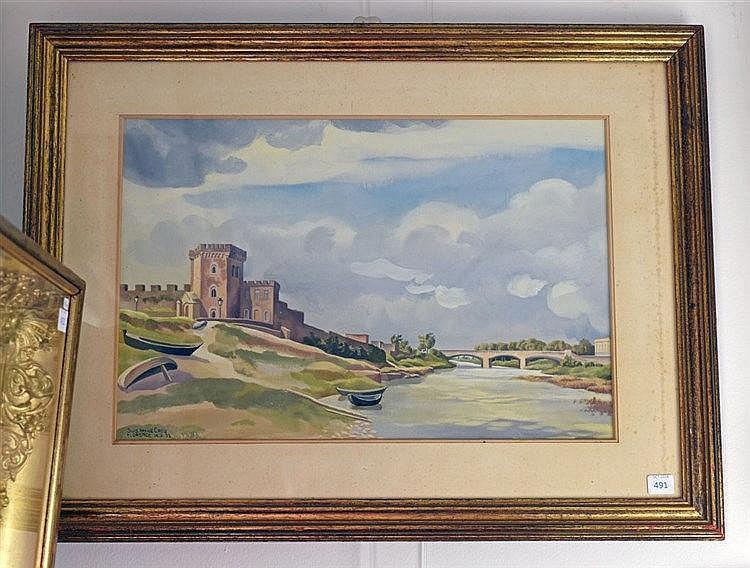 Florence, 1953. Gouache sur papier. Signé et daté en bas à gauche. 29 x 42