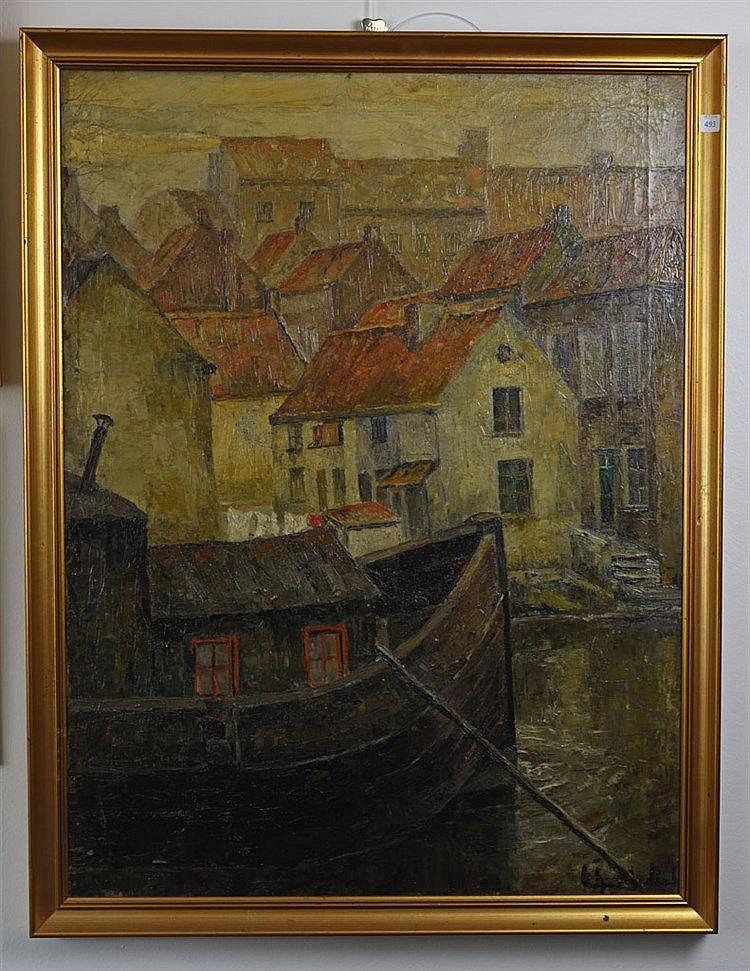 Péniche sur canal, 1935. Huile sur toile. Signature illisible, daté au dos.