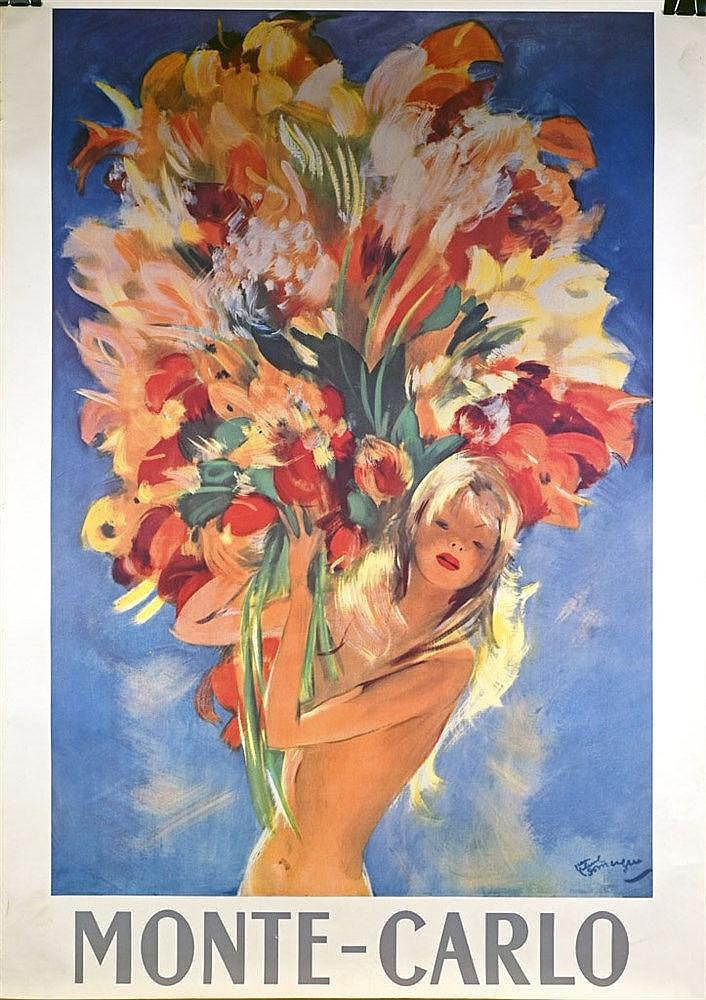 Monte Carlo, Pin-up au bouquet affiche couleur. Circa 1950 97 x 68 cm
