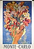 Monte Carlo, Pin-up au bouquet affiche couleur. Circa 1950 97 x 68cm, Jean-Gabriel Domergue, €10