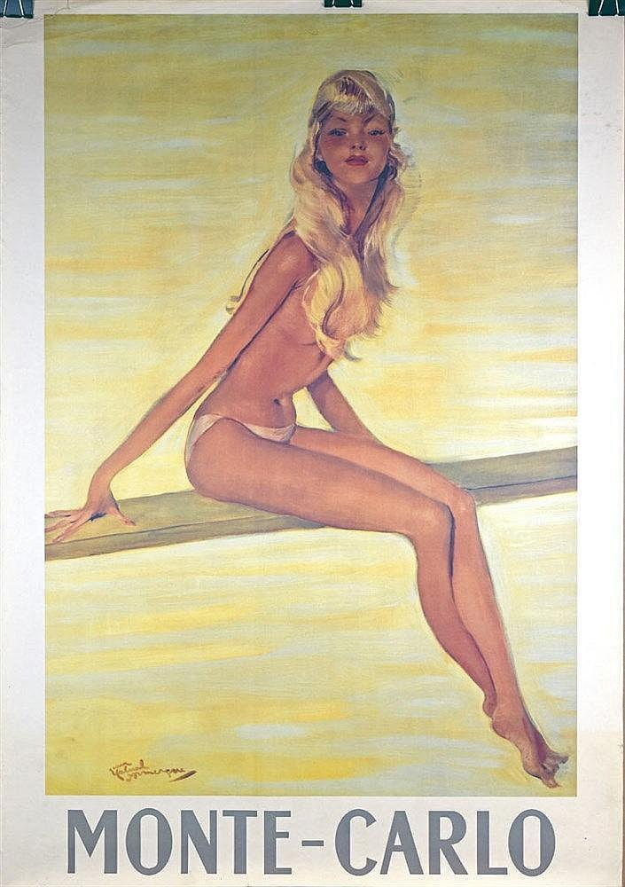 Monte Carlo, Pin-up sur un plongeoir affiche couleur. Circa 1950 97 x 68