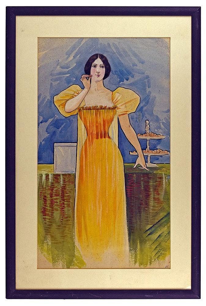 Dessin publicitaire de style Art Nouveau en provenance des Imprimeries O. D