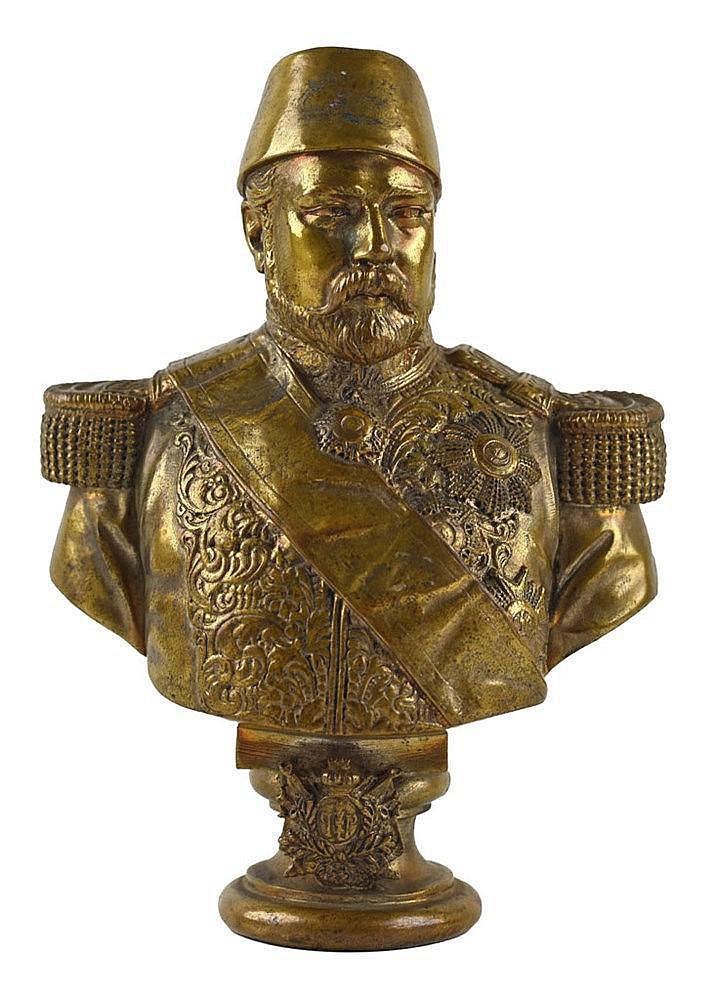 Buste d'Ismail Pasha, Khedive d'Egypte. Bronze. Signé et daté: 'Cordier 186