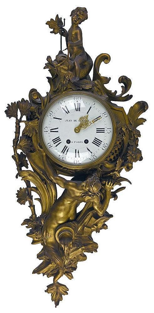 Style Louis XV en bronze doré et cadran signé 'Jean de Lounoy à Paris' 74 x