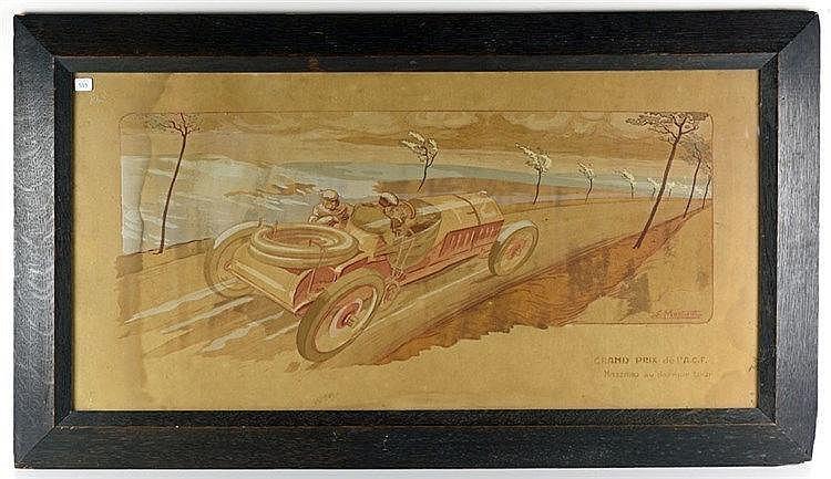 Nazzaro au dernier tour, Lithographie couleur représentant une automobile