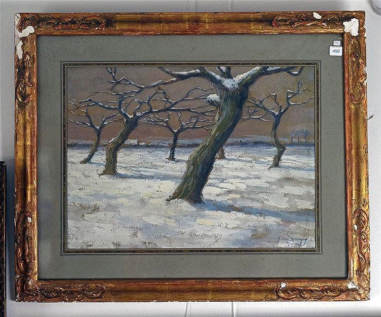 Technique mixte sur carton - paysage de neige signé et daté I-1918 en bas à