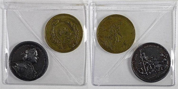 Deux médailles. Exposition pan-russe 1882 en bronze et une refrappe argent