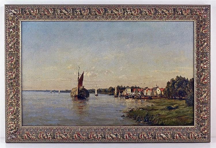 Paysage au bord de l'eau. Huile sur toile 35 x 56cm