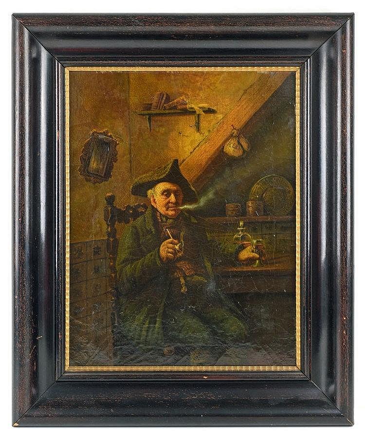 Homme à la pipe dans un intérieur. Huile sur toile 41 x 32cm